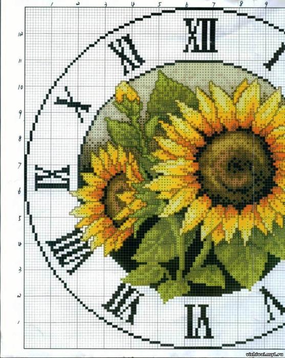 0. Описание: Схема для вышивки крестом - Часы с Подсолнухами в формате xsd.