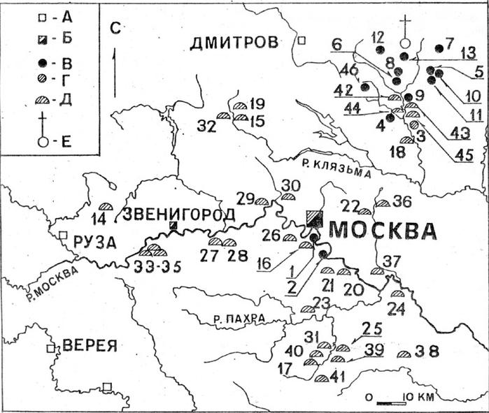 Схема курганов на территории