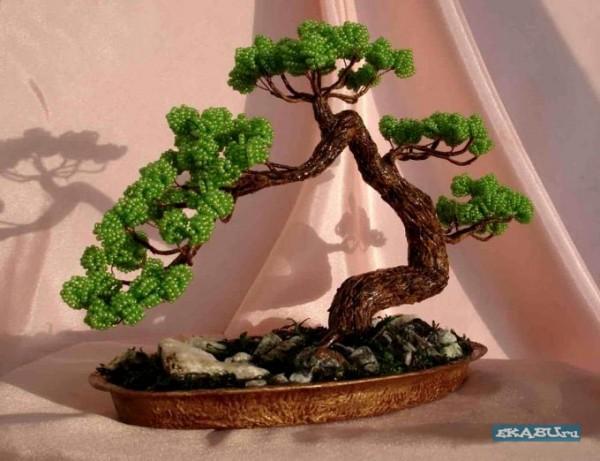 Поделка дерева бонсай из бисера