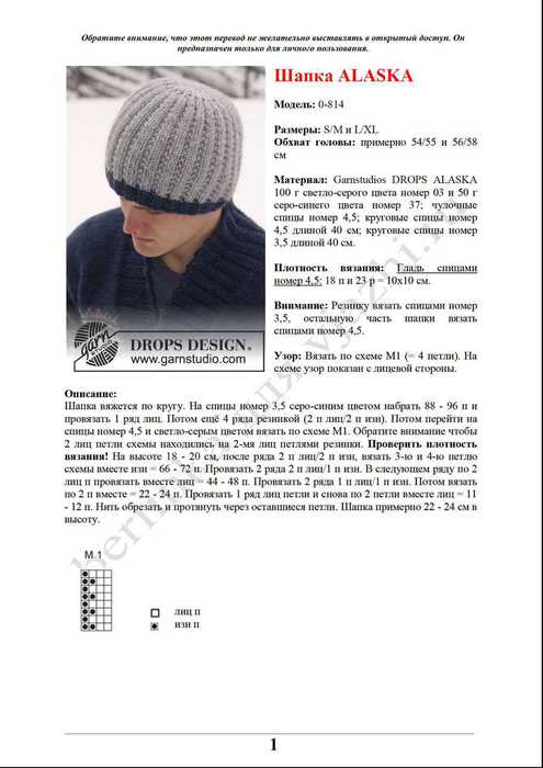 Зимняя шапка спицами схема вязания
