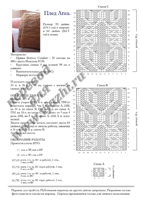 Узоры для пледа спицами схема вязания