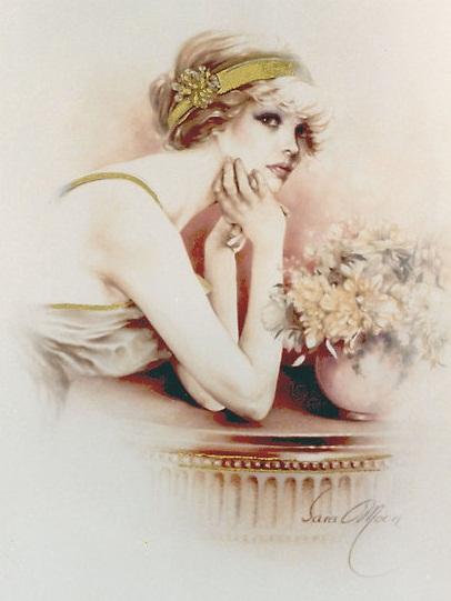 ART.  Опубликовал.  Девушка с повязкой на голове сидит за столом рядом с букетом цветов в вазе в стиле ретро.