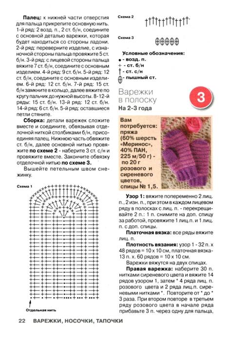Варежки для детей от 0 до 3 лет с описанием и схемами спицами