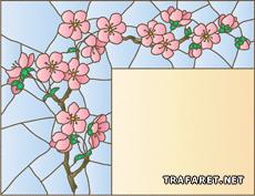 Ветка сакуры, ветка сакуры, цветы, витраж.