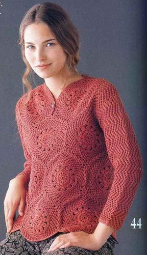 Предлагаем отличную идею для вязания женской кофточки 44 размера.  К сожалению описание отсутствует...