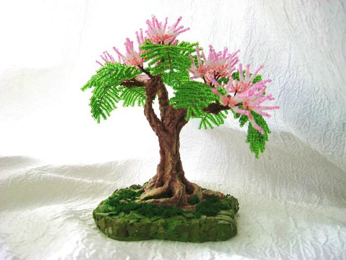 Мастер-класс Бисероплетение Дерево из бисера Бисер. .  Фото 3. пошаговое плетение из бисера деревьев...