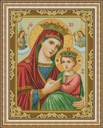 Вышитые картины, изделия из бисера и бусин, вязанные изделия, Богоматерь Неустанной Помощи.
