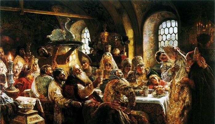 Боярский свадебный пир в 17 веке. 1883 (700x405, 120Kb)
