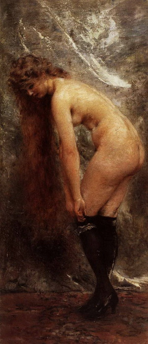 Обнаженная в черных чулках. 1890-ые (301x700, 75Kb)