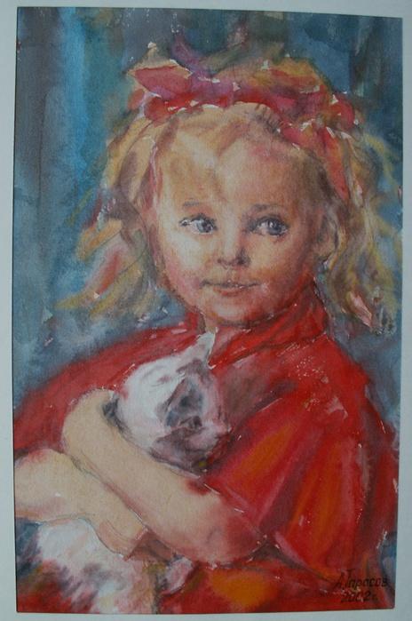 девочка с котиком (464x700, 122Kb)