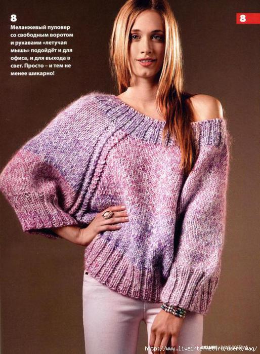 Как связать спицами рукав свитера 7