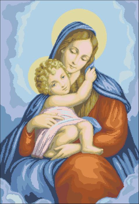 """Bышивкa  """"Дева Мария и младенец """" ."""
