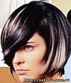 """""""Балаяж """" Прекрасный вариант для коротких тёмных волос с градуированной стрижкой.  Окрашиваются только кончики волос."""