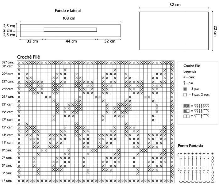 Схема вязания сумки филейным узором