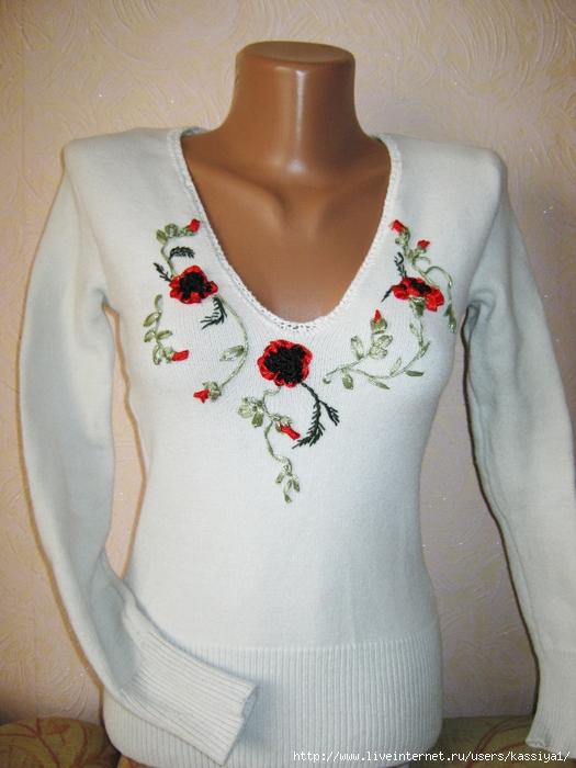 Вышивка на свитер своими руками