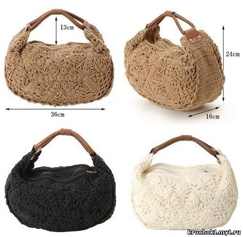 Модная зимняя тенденция - вязаные сумки.  Такие модели смотрятся так.