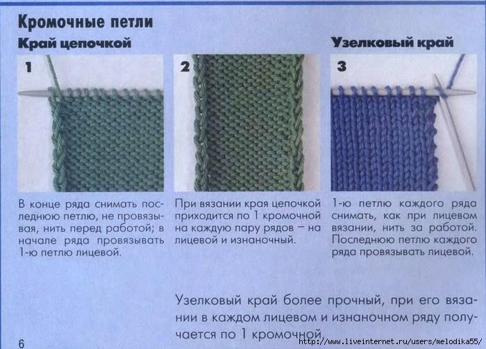 Как вязать спицами кромочные петли