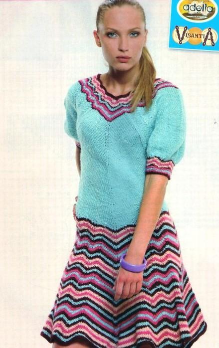 платье с пестр.юбкой (439x700, 90Kb)