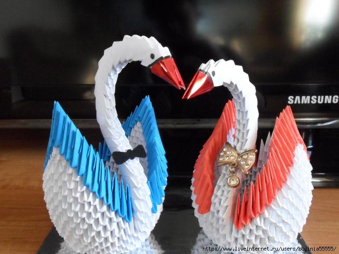 Модульное оригами, лебеди