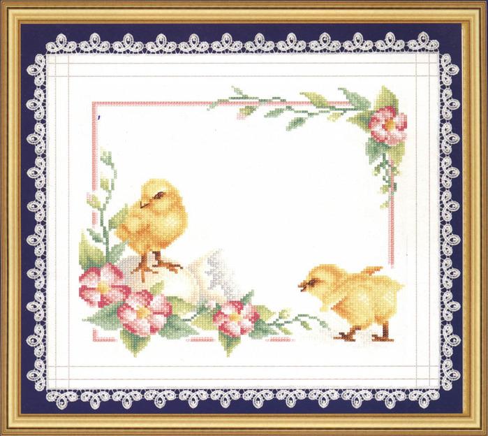 "Набор для вышивания  ""Пасхальные цыплята "" * Техника: счетный крест * Артикул: ПР-0232 * Размер: 45 х 42 см * Размер в..."