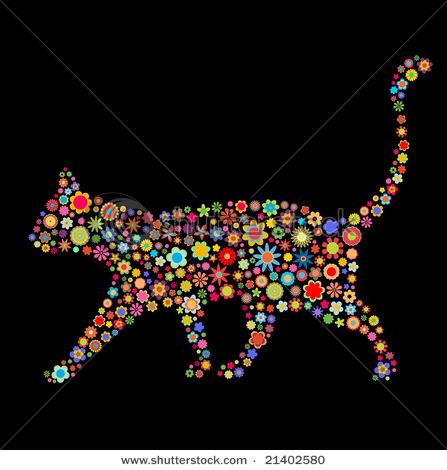 4708174_stockvectorvectorillustrationofcatshapemadeupalotofmulticoloredsmallflowersontheblack21402580 (447x470, 74Kb)