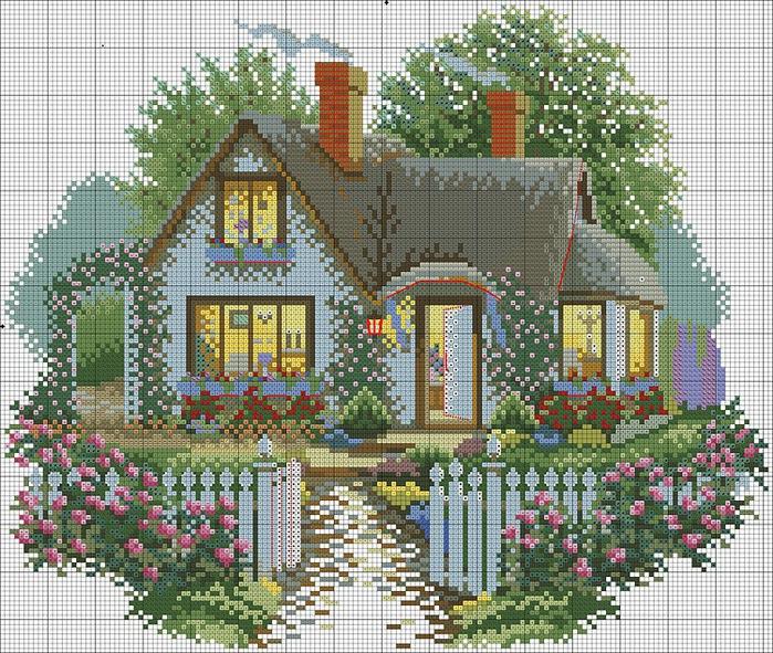 Схема для вышивки домик с садом