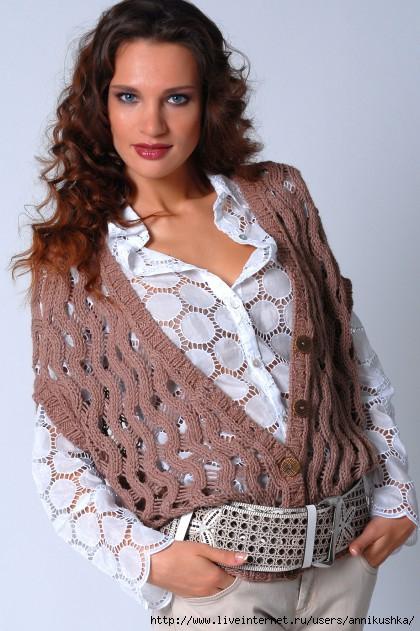 Вязание спицами женский жилет.