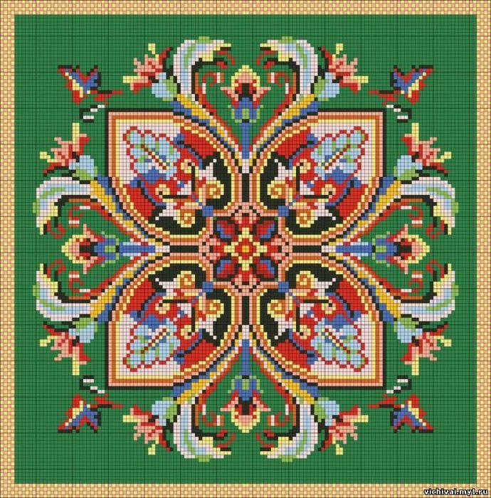 """Предпросмотр - Схема вышивки  """"Узор на зеленом фоне """" - Схемы автора  """"marrpu """" - Вышивка крестом."""