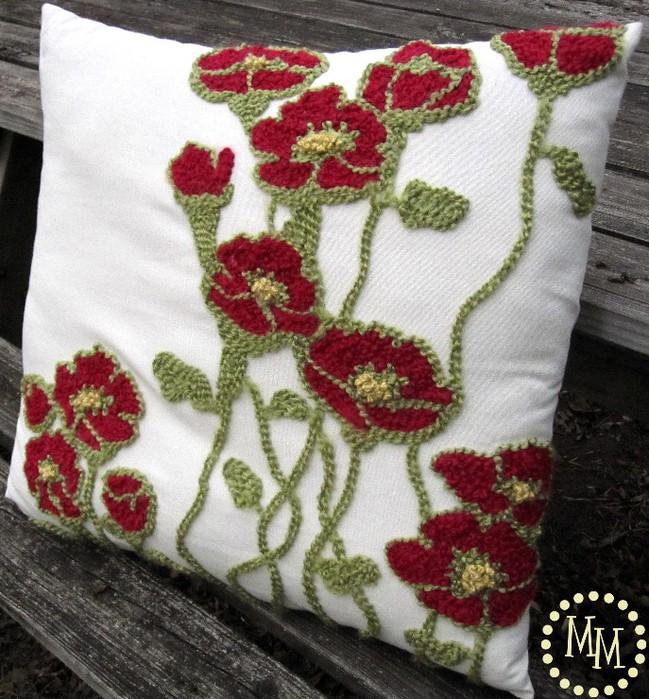 Вышивка подушки петлей