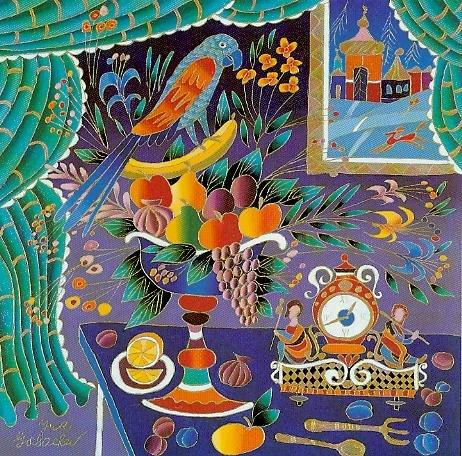 Still Life with Parrot and Clock (462x456, 76Kb)