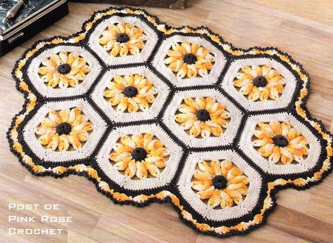Tapete de Croche Flores Amarelas. PRoseCrochet (674x492, 96Kb)