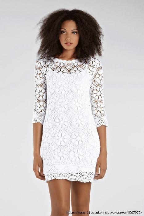 Белое платье из мотивов,фото и