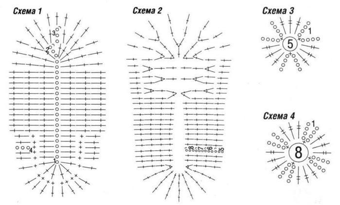 Как связать тапочки балетки крючком.  Схема вязания и подробная пошаговая инструкция.