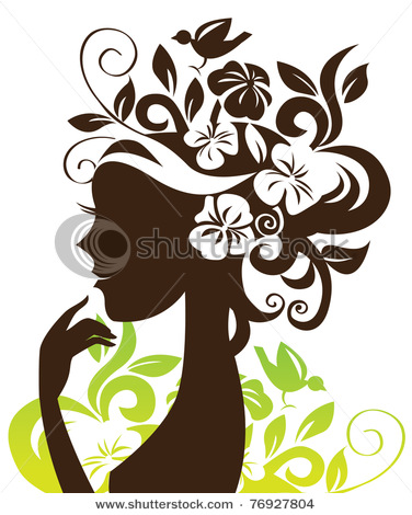 stock-vector-beautiful-woman-silhouette-with-flowers-and-bird-76927804 (376x470, 69Kb)