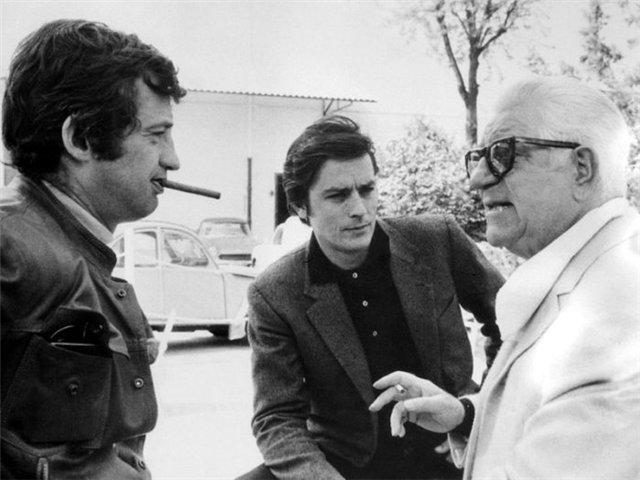 Три легенды французского кино Жан-Поль Бельмондо, Ален Делон и Жан Габен. 1965 год (640x480, 52Kb)