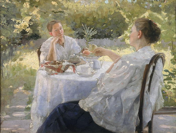 Lukjan Vasilievich PopovIn the Garden, 1911 (700x528, 298Kb)