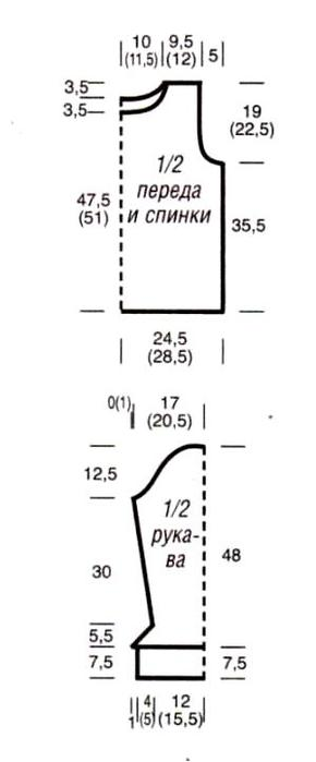 Выкройка вязанной кофты.  Фото из категорий: Вязание жилетки со схемой...