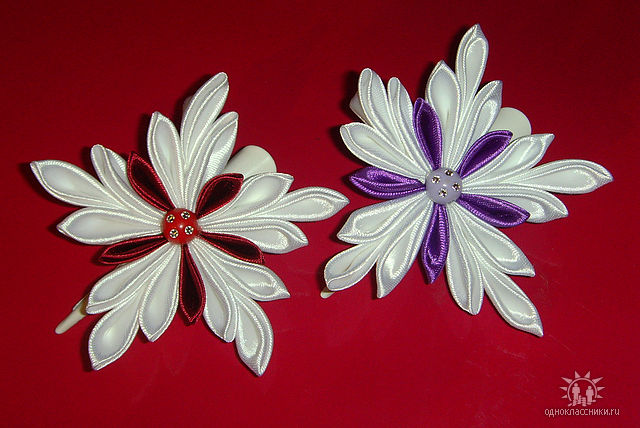 Канзаши для начинающих цветы из ткани своими руками
