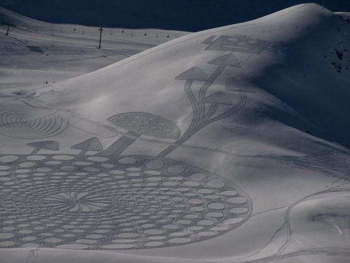 Современный французский художник Симон Бек и его узоры на снегу 2 (700x525, 86Kb)