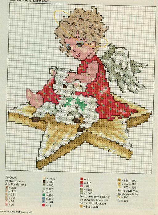 Ангелок с барашком (вышивание)