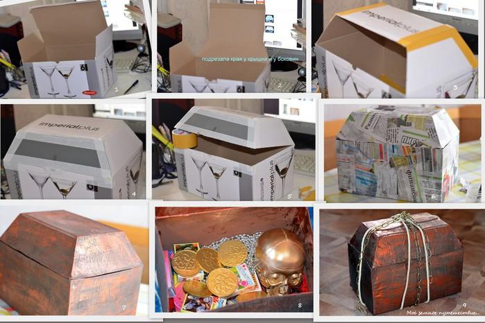 сундук из картонной коробки своими руками для детей