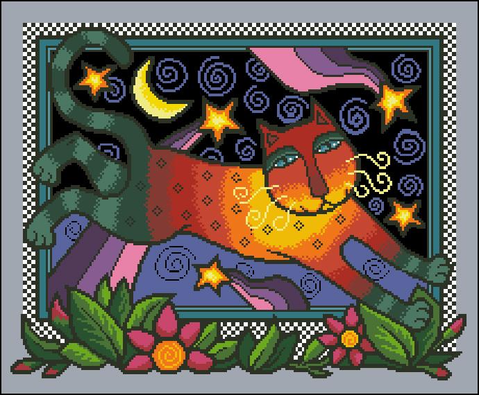 Dim Colourful Night Cat (690x570, 366Kb)
