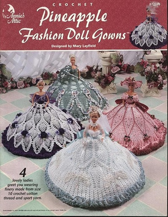 Annie's Attic-Pineapple Fashion Doll Gowns-а (542x700, 171Kb)