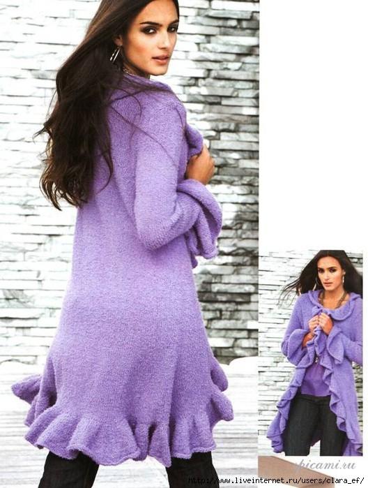 """На нашем женском портале  """"Дамочка """" Вы всегда можете найти новость - Вязание спицами Пальто для полной женщины..."""