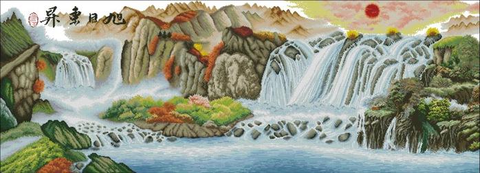 СХЕМА.  Горный водопад.  Вышивка крестом, схемы.