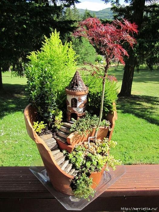 Миниатюрный сад из цветочного горшка. Идеи (3) (525x700, 394Kb)