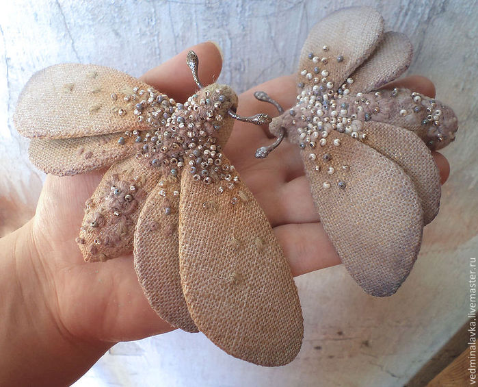 Бабочка брошь из ткани своими руками