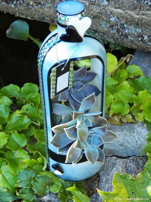 Кашпо-вазочка из пластиковой бутылки для суккулентов (4) (525x700, 358Kb)