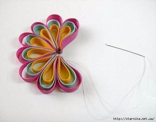 Как сделать цветок заколку из ленточек - БТЛ-страна