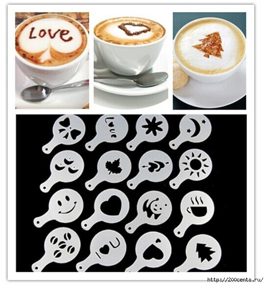 16Pcs/set Fashion Cappuccino Coffee Barista Stencils Template Strew Pad Duster Spray Tools/1435763932_16PcssetFashionCappuccinoCoffeeBaristaStencilsTemplateStrewPadDusterSprayTools (543x582, 144Kb)
